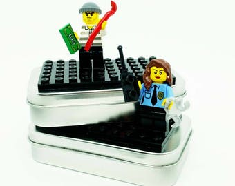 Cop & Robber Brick On-the-Go Travel Play Sets - Real LEGO Bricks - FREE SHIPPING! Kid travel, party favor, wedding kid table activity!