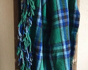 "Plaid Stadium Throw Blanket // Teal, blue, and brown 46x120"", Fall Blanket, Stadium Blanket, Fringe Detail, Vintage"
