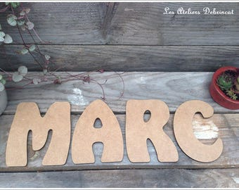 Name height 12 cm thickness 3mm raw wooden letter