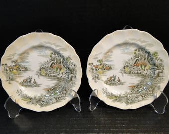 """TWO Johnson Brothers Happy England Bread Plates 6 1/4"""" Set of 2 EXCELLENT!"""