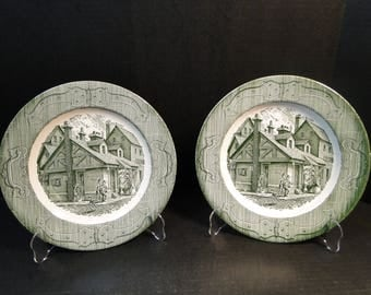 "TWO Royal China The Old Curiosity Shop Dinner Plates 10"" Set of 2 EXCELLENT!"