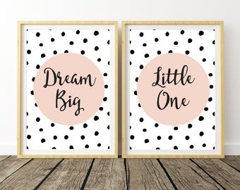 Art Above Crib, Boho Nursery Girl, Dream Big Little One, Dream Big Wall Decor, Nursery Wall Artwork, Playroom Decor, Dream Big Poster