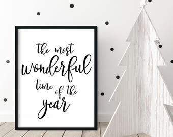 The Most Wonderful Time of the Year, Winter Gift for Wife, Holiday Quote Poster, Farmhouse Christmas, Modern Farmhouse Print
