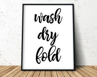 Laundry Room Sign, Laundry Room Decor, Washy Dry Fold, Laundry Wall Decor, Laundry Room Art, Laundry Sign Decor, Laundry Room Art Print