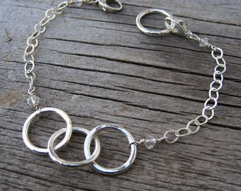 Simply Circles fine and sterling silver modular add a charm bracelet // ready to ship
