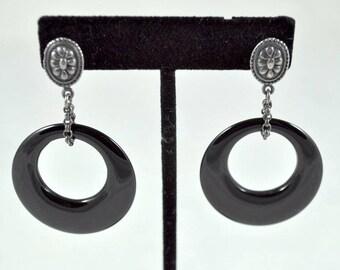 Sterling onyx earrings, sterling pierced earrings