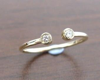 Open Ring 14k Gold Diamond, Engagement Ring Diamond, Duo Ring Diamond, Promise Ring, Stacking Gold Ring Diamond, Wedding Ring