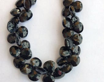 1 Strand Natural Black Onyx 8-9mm  Faceted Flat Pear shape Gemstone Beads 10'' long strand By SHAMSHAD GEMS