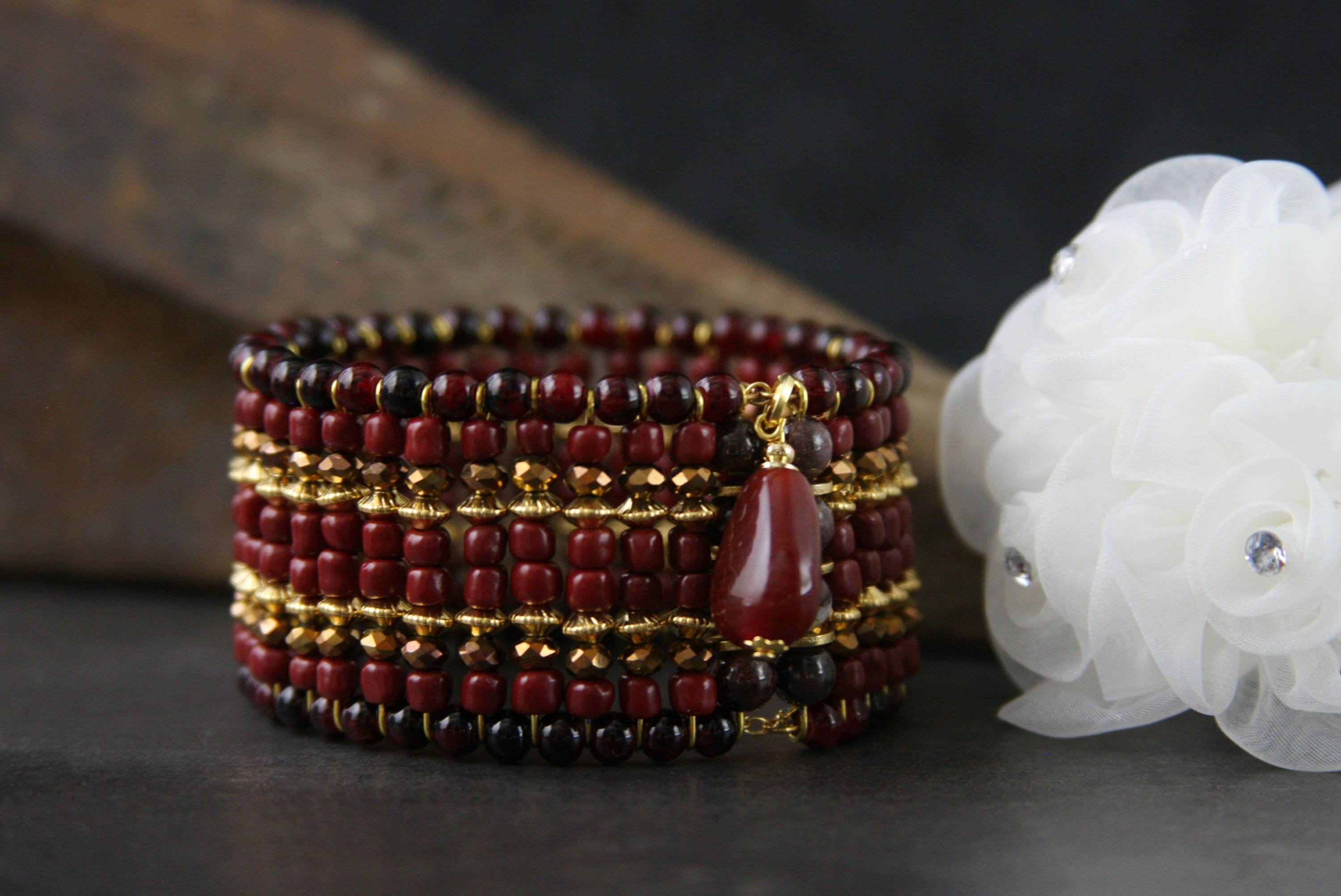 red delicate for dainty her gemstone garnet bracelet everyday pin