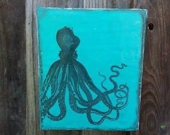 Beautiful octopus original encaustic art