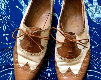 Vintage Ferragamo Leather Brown and White Shoes