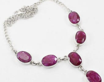Ruby Corundum 100% Solid 925 Sterling Silver Handmade Jewelry Necklace
