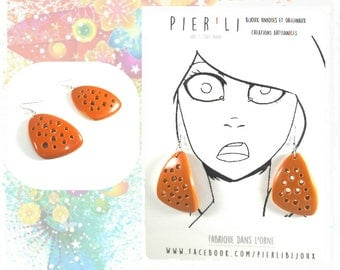 Orange earrings - unique