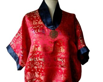 Red and midnight blue kimono blouse Takara tunic
