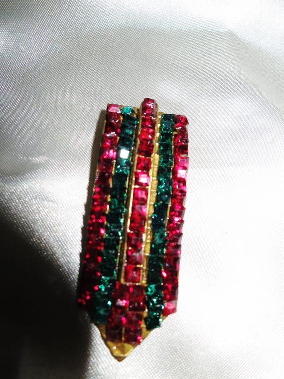 Stunning antique Deco Czech garnet and green glass dress clip or brooch