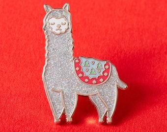 Festive Alpaca Enamel Pin // Christmas Pin // Llama Badge