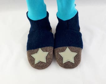 Size 26/27 slippers made of wool with leather sole, non-slip socks, hut shoes, warm slippers, warm indoor shoes, indoors
