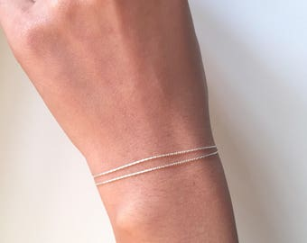 Simple thin double bracelet, dainty bracelet
