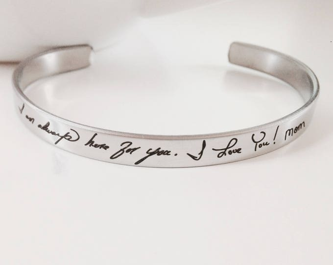 "Handwritten Stainless Steel Cuff Bracelet - .25"" x 6"" Adjustable Cuff - Optional Inside and/or Outside Custom Engraving Options"