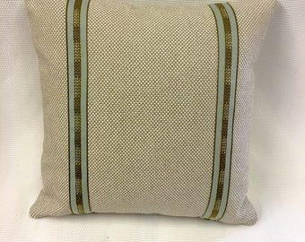 Indoor Outdoor Beige with Design Pillow Cover, Eurosham or Lumbar Pillow Accent Pillow, Throw Pillow