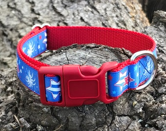Red white and blue 4th of July Adjustable Dog Collar