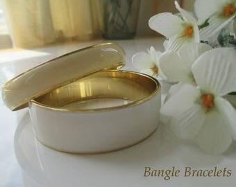 Bangle Bracelets * Enamel * White And Cream * Lot Of Two Bracelets * Classic Vintage