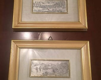 Pair of Vintage, Wall Signed Silver Trim, small frames, landscapes
