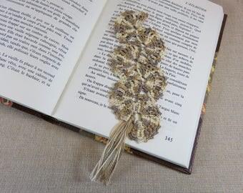 Bookmark crochet bookmark fan Brown, bookmark, lace, beige marker jewelry books, handmade cotton bookmarks
