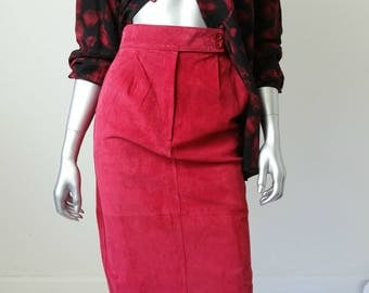 High Waisted Leather Skirt | Red Leather Skirt | 80s Leather Skirts |  80s Clothing Small | Suede Skirt XS |