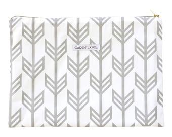 Gray Arrow Zippered Wet Bag  | White, Gray, Arrow, Tribal Gender Neutral Travel Bag