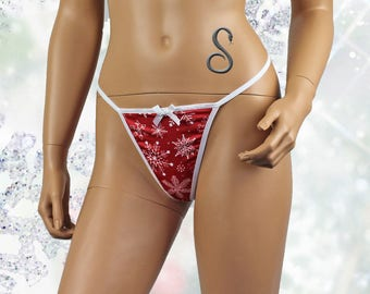 Womens Christmas Snow Flake G string  Xmas Underwear Red