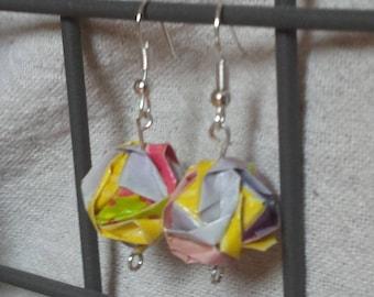 Origami earrings Japanese modular jewelry