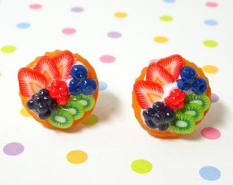 Cake Earrings, Fruit Tart Earrings, Kawaii Earrings, Fake Food Charm, Food Jewelry, Miniature Food, Cute jewelry, Gift for food lover