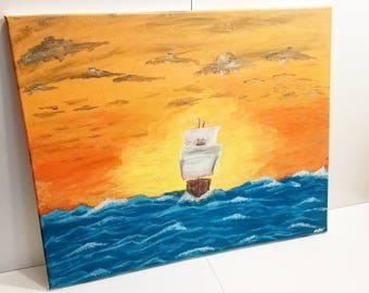 Seascape Painting of a Ship Sailing into the Sunset