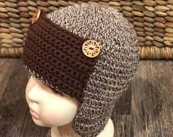 Beanie Hat, Trapper style, Toddler crochet hat, 1-2 year old