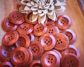 30mm round Wooden buttons, 4 hole buttons, sewing, crafts,  5 or 10 pack