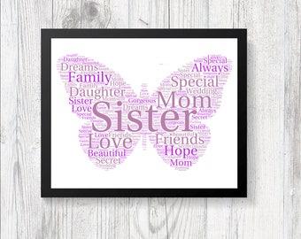 Personalised Beautiful Butterfly Word Art Print Gift Keepsake Birthday Christmas Daughter Mom Nan Mother Sister Family