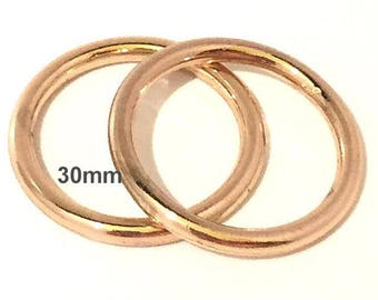 Large GOLD O-rings 30mm ID / Purse Hardware / Gold O Ring / Strap Hardware / 37mm Rings / Set of TWO O Rings