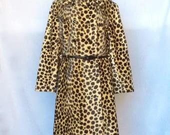 Vintage 1960s Faux Fur Leopard Print Coat