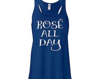 ON SALE Rose All Day Tank Top, Womens Graphic Tees, Wine T-Shirt, Women's Wine Tank, Winosaur Shirt, Trendy Gift Ideas, Drinking Shirt, Drun