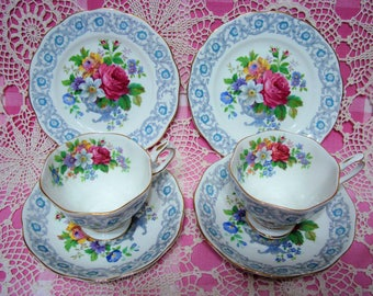 2 Lovely Vintage Royal Albert FRAGRANCE Cups, Saucers and Side Plates.