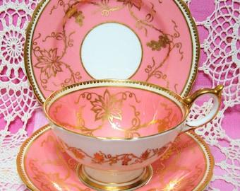 Beautiful Vintage Peachy Pink AYNSLEY Cup, Saucer & Plate.