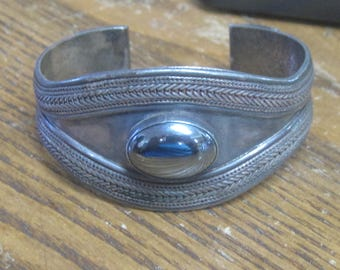 Vintage Sterling Silver Cuff Bracelet with Onyx Stone RESERVED