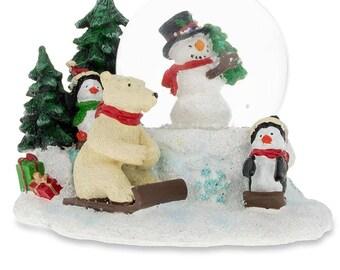 """2.5"""" Cheerful Snowman, Polar Bear and Penguins Mini Snow Globe"""