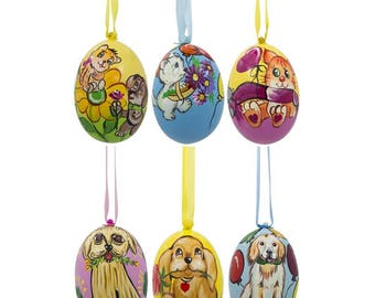 "3"" Set of 6- Cats and Dogs Wooden Easter Wooden Christmas Ornaments"