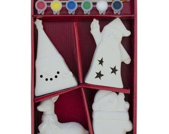 Paint your Own 4 White Blank Figurines: Deer, Santa, Snowman and Christmas Tree DIY Craft Kit