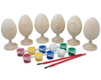 """3.5"""" Paint your Own Set of 6 Blank Unfinished Wooden Eggs"""