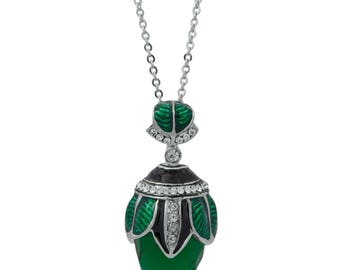 """Green Crystal Water Drop Royal Egg Pendant Necklace 22"""""""