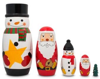 "5"" Santa Claus, Snowmen & Christmas Tree Wooden Nesting Dolls"