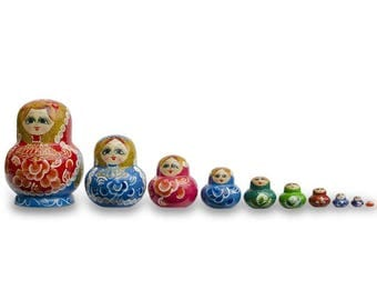 "5.75"" Set of 10 Rainbow Collection Wooden Matryoshka Russian Nesting Dolls"